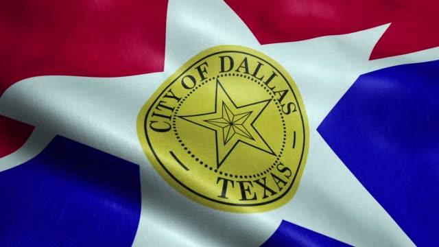 Flag of Dallas USA City Seamless Looping Waving Animation