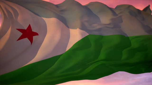 Flag of Djibouti Djibouti flag waving in the wind. Clip is seamlessly looping. Extend it to whatever duration you need. horn of africa stock videos & royalty-free footage