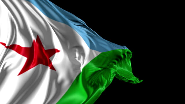 Flag of Djibouti Beautiful   3d animation of Djibouti flag with alpha channel horn of africa stock videos & royalty-free footage