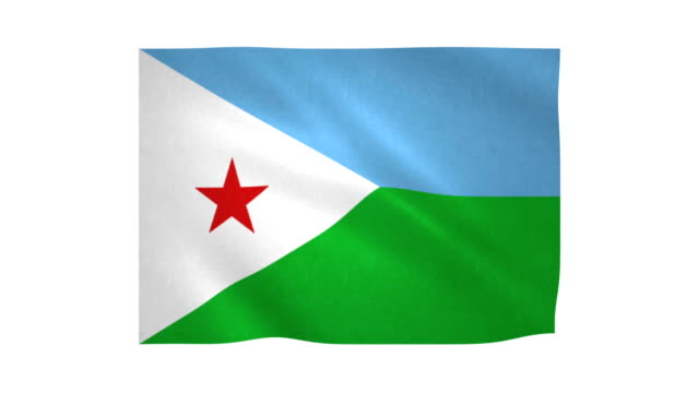 Flag of Djibouti Flag of Djibouti waving on white background horn of africa stock videos & royalty-free footage