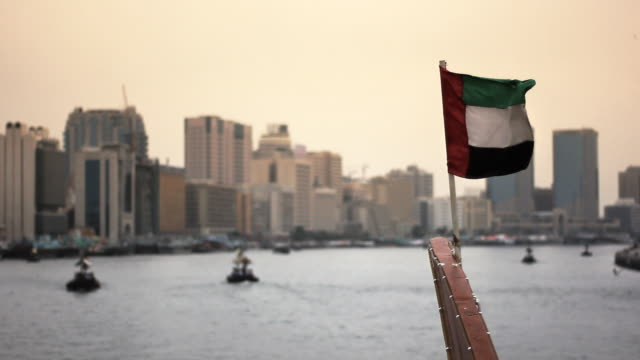 Flag of Dubai, United Arab Emirates (UAE) on boat video