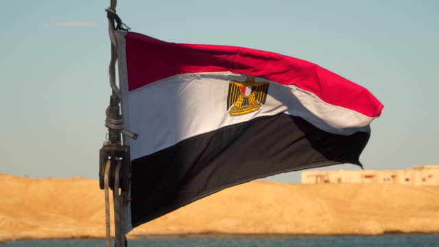 Flag of Egypt on a yacht