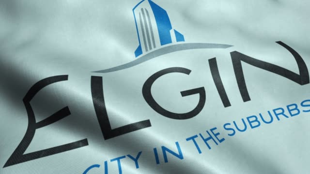 Video Flag of Elgin USA City Seamless Looping Waving Animation