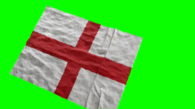 Flag of England stadium flag. Waving on green screen video