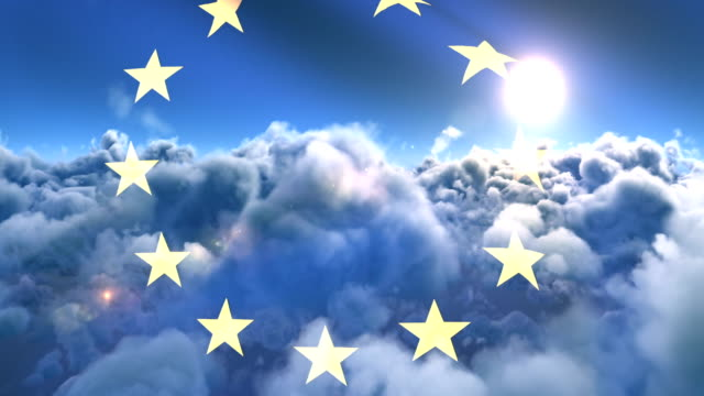 Flag of Europe waving against sky and clouds 4k video