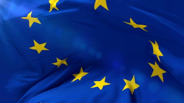 stockvideo's en b-roll-footage met vlag van europa zwaaien op wind in traag, lus - europe