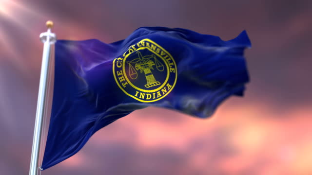 Flag of Evansville at sunset, city of Indiana in United States of America - loop