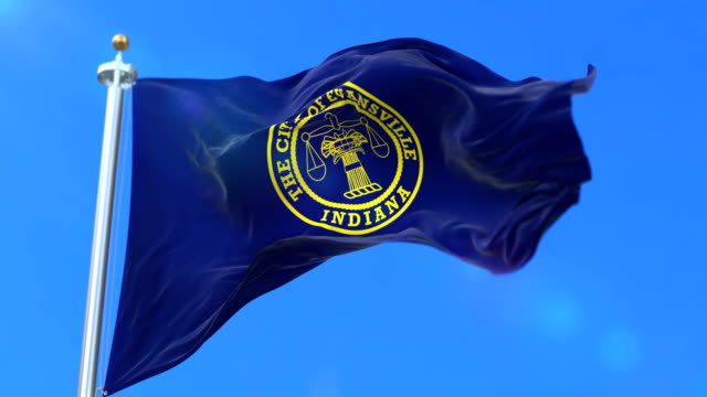 Flag of Evansville city, city of Indiana in United States of America - loop