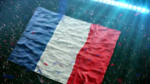 Flag of France at the stadium Fans of the France football team unfurl a giant flag in the stands at the stadium.  HD video footage. france stock videos & royalty-free footage