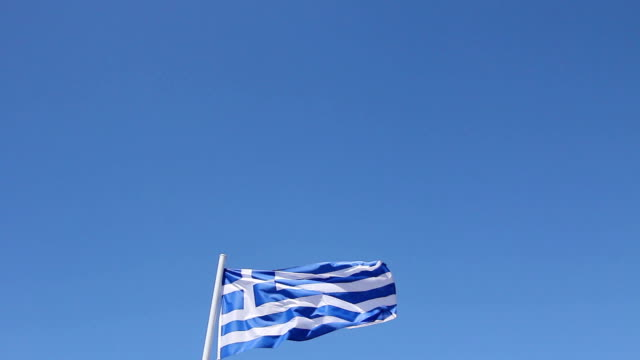 Flag of Greece it flutters on the wind. video