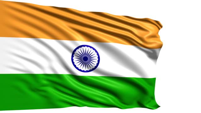 flag of india (loop) - saffron on white bildbanksvideor och videomaterial från bakom kulisserna