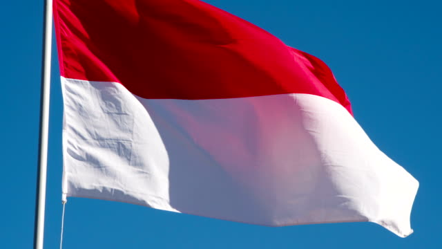 Flag of Indonesia Fluttering in the Wind