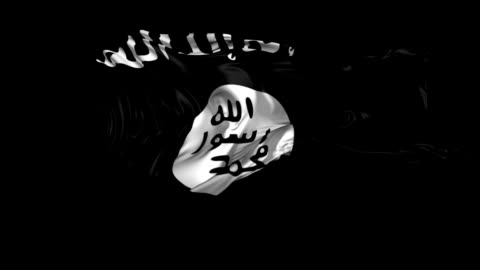 Flag of Isis 3D animation of the Islamic state of Iraq and the Levant with alpha channel in 4K resolution flag stock videos & royalty-free footage