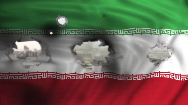 flag of Islamic Republic of Iran: see through bullet holes