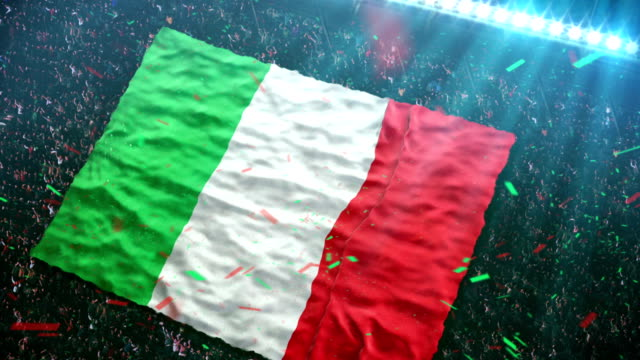 Flag of Italy at the stadium video