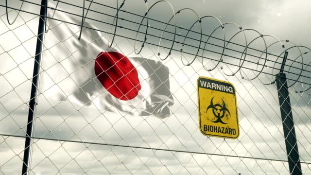 Flagge von Japan mit Biohazard Zeichen Warnung vor Quarantäne. Loopable. – Video