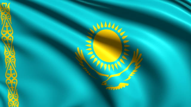 Flag of Kazakhstan (loop) Kazakh flag with fabric structure; looping kazakhstan stock videos & royalty-free footage