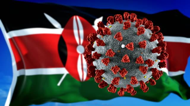 vídeos de stock e filmes b-roll de flag of kenya with outbreak deadly coronavirus covid-19. loopable - quénia