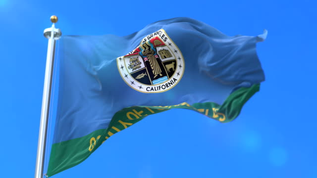 Flag of Los Angeles, county of the state of California, in United States - loop video