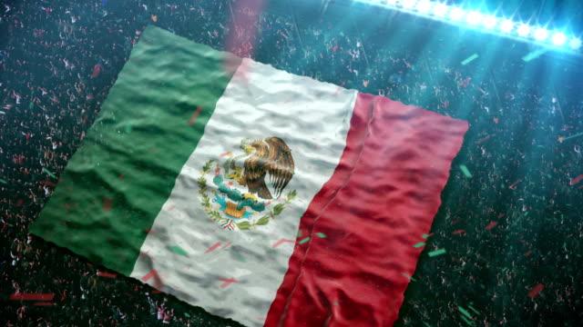 флаг мексики на стадион - мексика стоковые видео и кадры b-roll