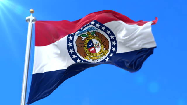 Flag of Missouri state, region of the United States - loop video