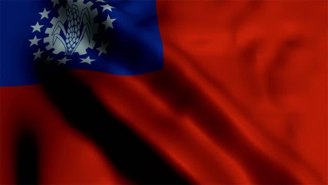 flag of myanmar - naypyidaw video stock e b–roll