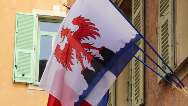 flag of nice - formaggio comté video stock e b–roll