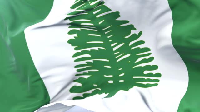 Flag of Norfolk Island waving at wind in slow in blue sky, loop video