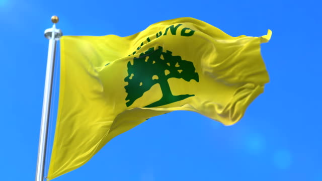 Flag of Oakland city, city of United States of America - loop Oakland city flag, city of USA or United States of America, waving at wind in blue sky, slow - loop oakland stock videos & royalty-free footage