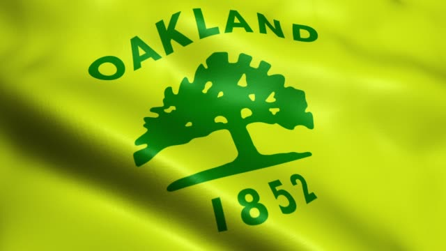 Flag of Oakland USA City Seamless Looping Waving Animation