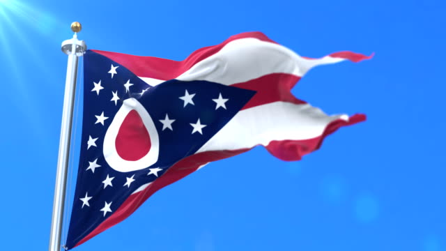 vídeos de stock e filmes b-roll de flag of ohio state, region of the united states of america - loop - bandeira
