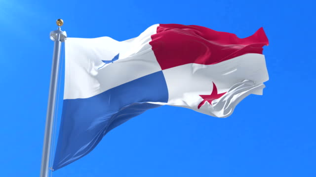 Flag of Panama waving at wind with blue sky in slow, loop video