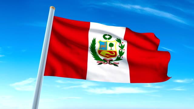 Bandera del Perú que agita (luma mate incluido, así que usted puede poner su propio fondo) - vídeo