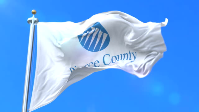 Flag of Pierce county, state of Washington, in United States - loop video