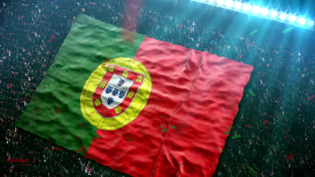 stockvideo's en b-roll-footage met flag of portugal at the stadium - portugal