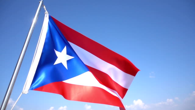 Flag of Puerto Rico 1080p, Slowmotion puerto rico stock videos & royalty-free footage