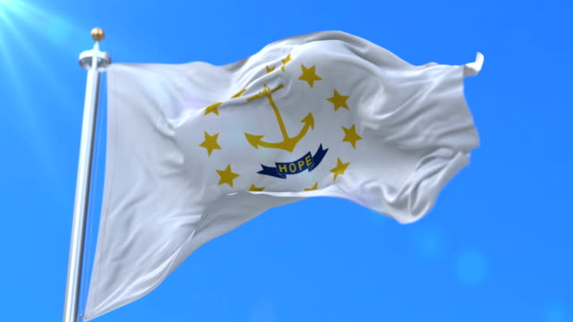 Flag of Rhode Island state, region of the United States - loop video