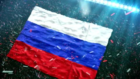 flagge von russland im stadion - russland stock-videos und b-roll-filmmaterial