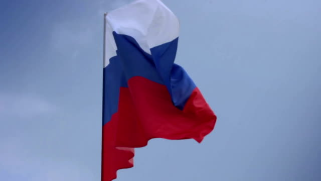 Flag of Russia on flagstaff. Russian Federation national video