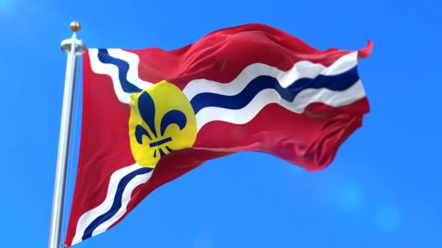 세인트 루이스 시, 미국-에 미주리 시의 국기 루프 - st louis 스톡 비디오 및 b-롤 화면