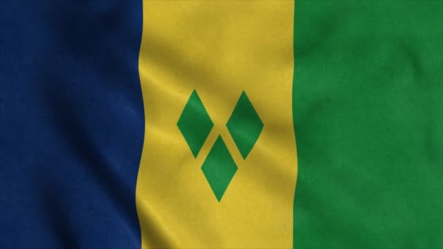flag of saint vincent and the grenadines background seamless loop animation. 4k - kingstown video stock e b–roll