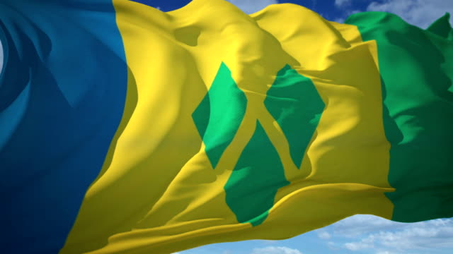 bandiera di saint vincent - kingstown video stock e b–roll