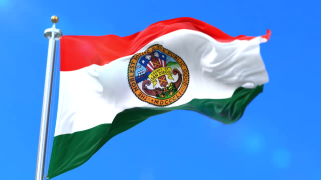 Flag of San Diego county, state of California in United States - loop video