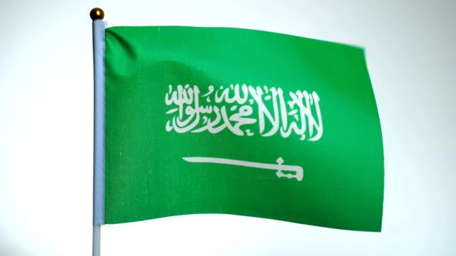 깃대에 사우디 아라비아의 국기 비행과 바람에 흔들리는. - saudi national day 스톡 비디오 및 b-롤 화면