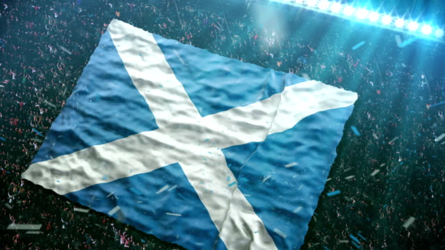 Flag of Scotland at the stadium Fans of the Scotland football team unfurl a giant flag in the stands at the stadium.  Please check more flags in my portfolio.  scotland stock videos & royalty-free footage