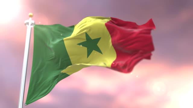 flag of senegal waving at wind in slow at sunset, loop - dakar video stock e b–roll