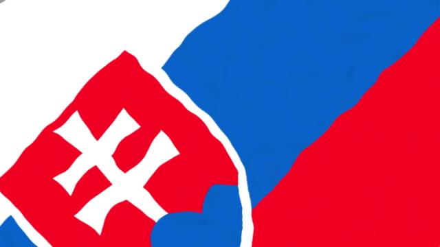 vídeos de stock, filmes e b-roll de bandeira da eslováquia - futebol internacional