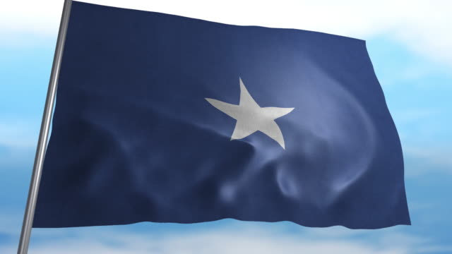 Flag of Somalia Seamless looping animated flag of Somalia blowing in the wind in 4K resolution including luma matte horn of africa stock videos & royalty-free footage
