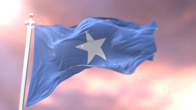 flag of somalia waving at wind in slow at sunset, loop - sudan del sud video stock e b–roll