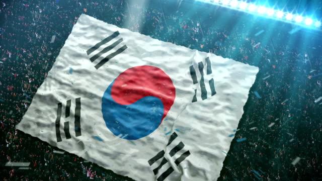 vídeos de stock e filmes b-roll de bandeira da coreia do sul, stadium - coreia do sul